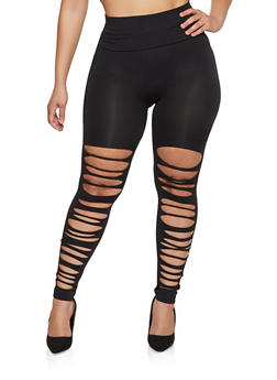 Plus Size Laser Cut Leggings - 1969062906156