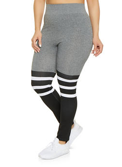 Plus Size Color Block Striped Leggings - 1969062906290