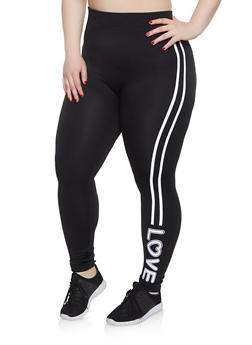 Plus Size Fleece Love Graphic Leggings - 1969062907222