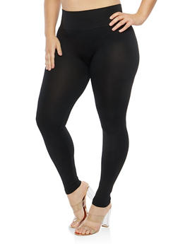 Plus Size Black Tummy Control Leggings - 1969062907515