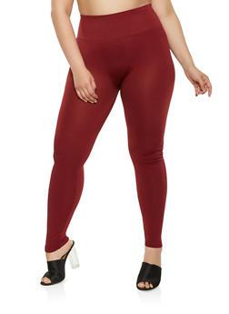 Plus Size Black Tummy Control Leggings - 1969062907515