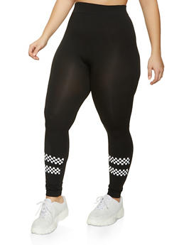 Plus Size Checkered Detail Seamless Leggings - 1969062907901