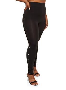 Plus Size Faux Pearl Trim Leggings - 1969062908180