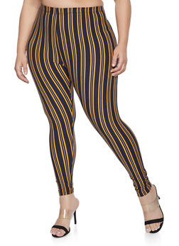 Plus Size Striped Soft Knit Leggings - 1969062908199