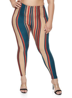 Plus Size Soft Knit Striped Leggings - 1969062908201