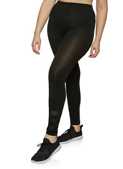 Plus Size Laser Cut Ankle Detail Leggings - 1969062908244