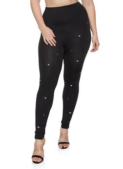 Plus Size Studded Leggings - 1969062908315