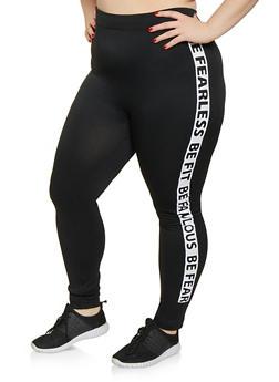 Plus Size Be Fearless Be Fit Be Fabulous Trim Leggings - 1969062908430