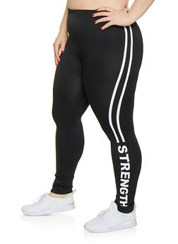 Plus Size Strength Graphic Leggings - 1969062908440