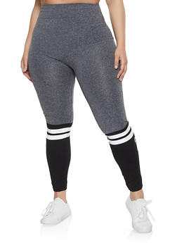 Plus Size Marled Color Block Leggings - 1969062908480