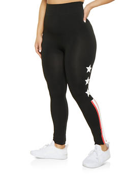 Plus Size Star Striped Print Leggings - 1969062908490