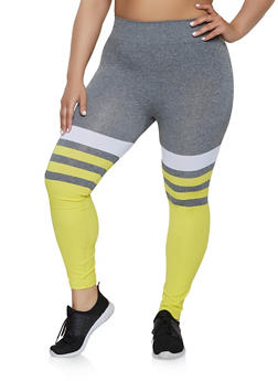 Plus Size Striped Color Block Leggings | 1969062908531 - 1969062908531