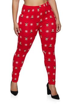 Plus Size Reindeer Leggings - 1969062908635
