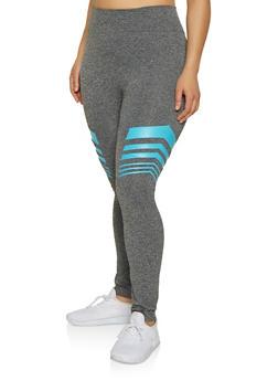 Plus Size Neon Striped Detail Leggings - 1969062908707