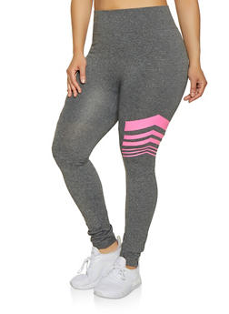 Plus Size Neon Striped Detail Leggings - 1969062908707