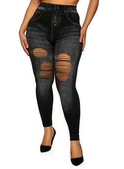 Plus Size Distressed Jean Print Leggings - 1969062909049