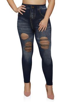 Plus Size Distressed Jean Print Leggings - 1969062909049