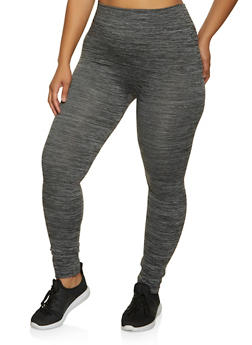 Plus Size Fleece Lined Marled Leggings - 1969062909139