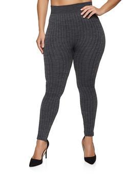 Plus Size Striped Fleece Lined Leggings - 1969062909140