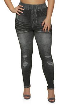 Plus Size Jean Print Seamless Leggings - 1969062909180
