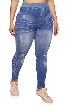 Plus Size Jean Print Seamless Leggings - 1969062909180
