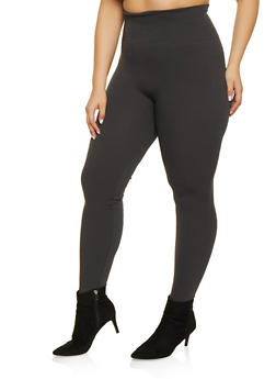 Plus Size French Terry Lined Solid Leggings - 1969062909725