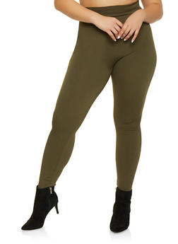 Plus Size Solid Leggings - 1969062909725