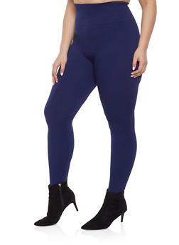 Plus Size Solid Leggings - 1969062909725