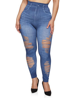 Plus Size Ripped Denim Print Leggings - 1969062909807