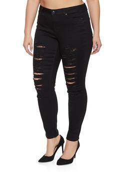 Plus Size WAX Distressed Skinny Jeans - 1988071610071