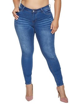 Plus Size WAX Whisker Wash Skinny Jeans - 1988071615400