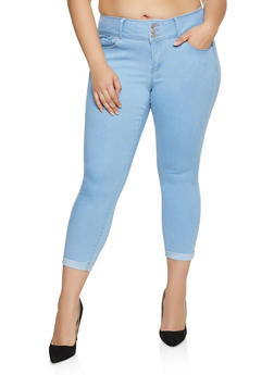Plus Size WAX Cropped Jeans - 1988071616900