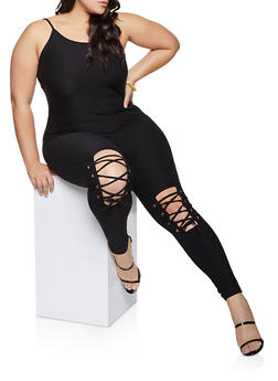 Plus Size Lace Up Cami Jumpsuit - 1990062706524