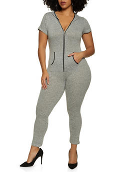 Plus Size Marled Zip Front Jumpsuit - 1990062709865