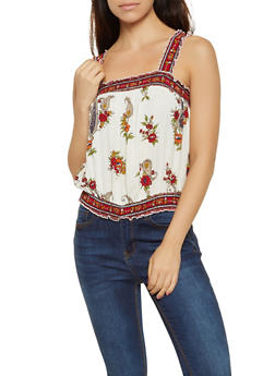 Smocked Floral Paisley Top - 3001015990708