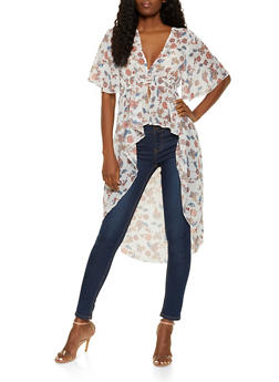Floral Three Button High Low Top - 3001015992953