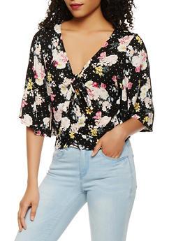 Floral Tie Front Crop Top - BLACK - 3001015993021