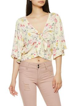 Floral Tie Front Crop Top - 3001015993021