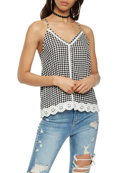 Crochet Trim Gingham Cami - 3001015993500