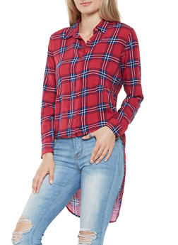 Plaid High Low Peplum Shirt - 3001015994800