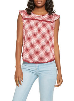 Crochet Trim Plaid Top - 3001015995000