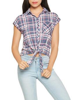 Plaid Tie Front Shirt - 3001015998402