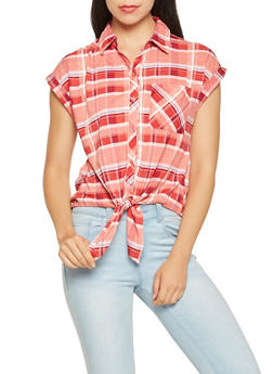 Plaid Tie Front Shirt - 3001015998402