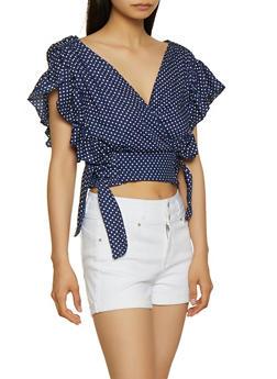 Polka Dot Tie Side Crop Top - 3001038340640