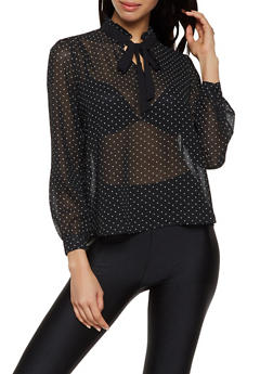 Polka Dot Tie Neck Blouse | 3001038340642 - 3001038340642