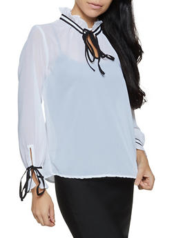 Ruffled Tie Neck Blouse - 3001038340677