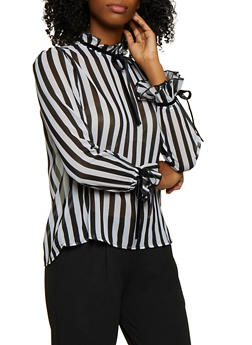 Tie Ruffle Detail Striped Top - 3001038340678