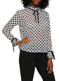 Tie Ruffle Detail Polka Dot Top - 3001038340679