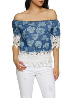 Floral Denim Off the Shoulder Top - 3001038340685