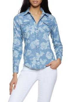 Floral Denim Button Front Shirt - 3001038340687